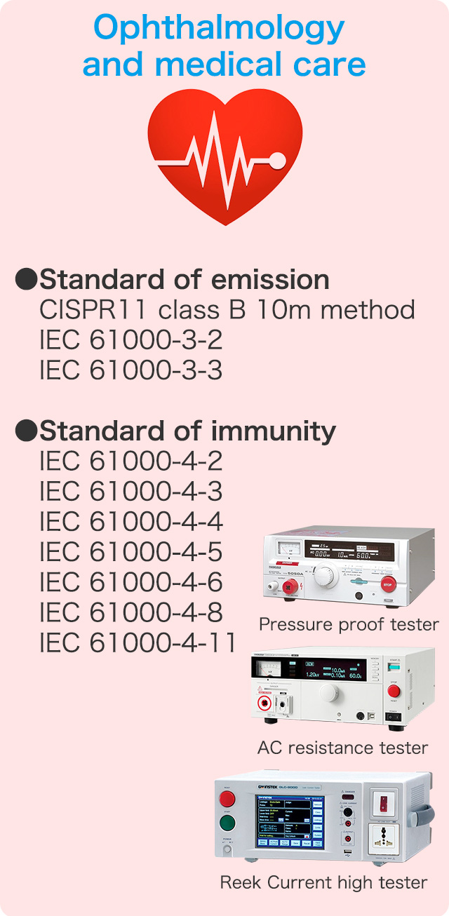 Ophthalmology and medical care ●Standard of emission / CISPR11  class B 10m method / IEC 61000-3-2 / IEC 61000-3-3 ●Standard of immunity / IEC 61000-4-2 / IEC 61000-4-3 / IEC 61000-4-4 / IEC 61000-4-5 / IEC 61000-4-6 / IEC 61000-4-8 / IEC 61000-4-11
